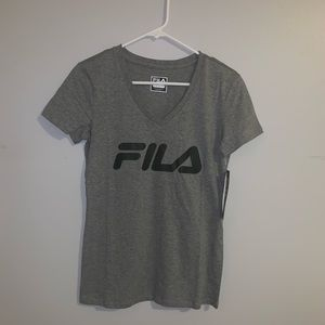 Grey Fila V Neck Shirt